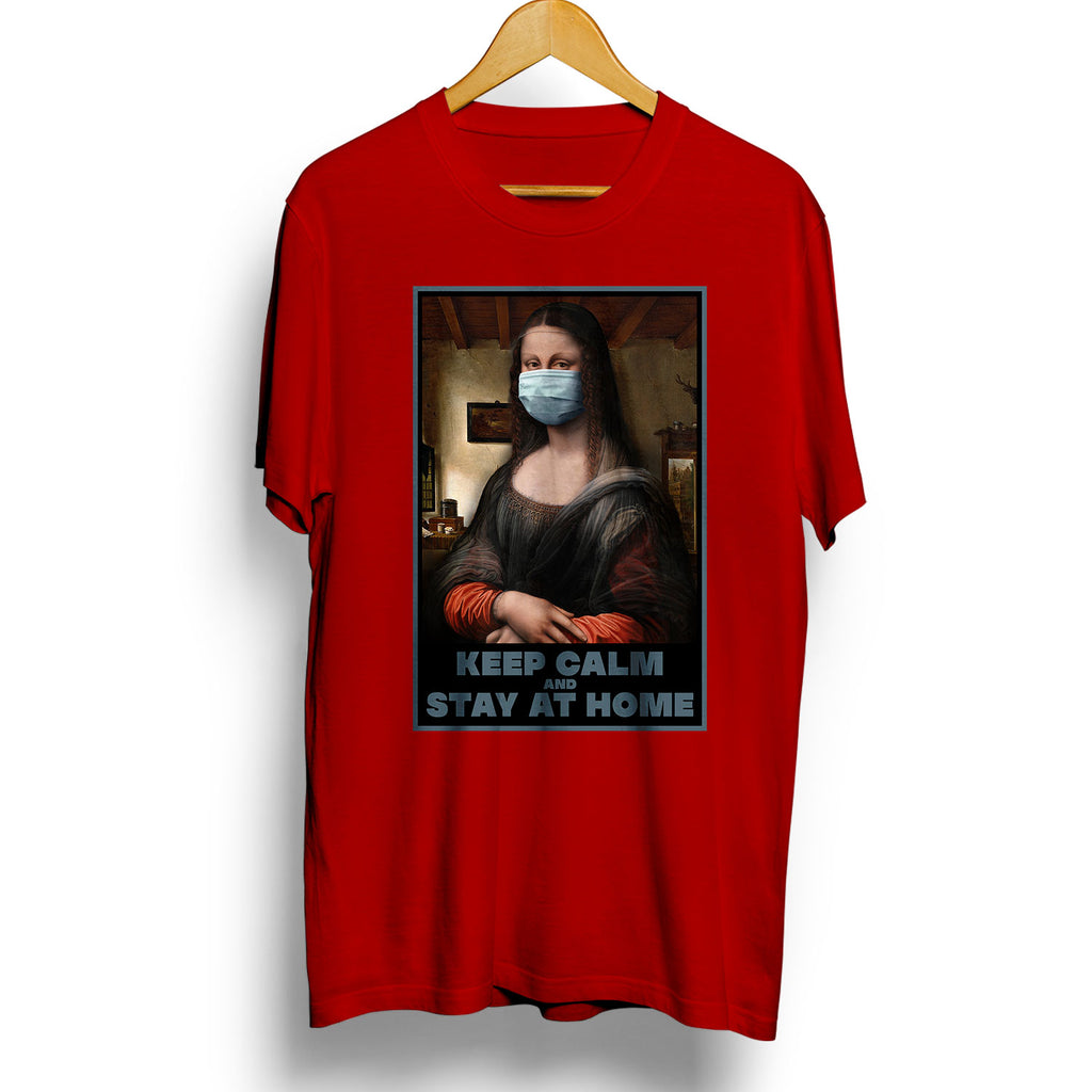Keep Calm and Stay at Home - Mona Lisa Face Mask