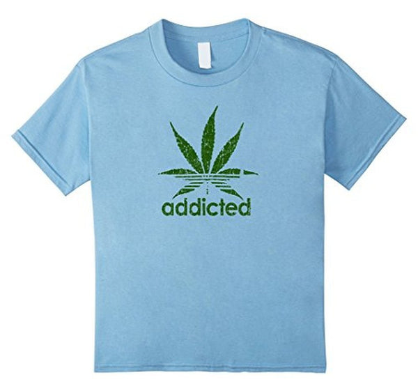 Addicted Green Leaf Weed Day T-shirt Baby Blue / 3XL T-Shirt BelDisegno