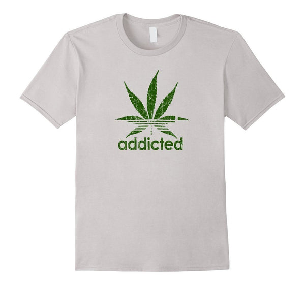 Addicted Green Leaf Weed Day T-shirt  T-Shirt BelDisegno