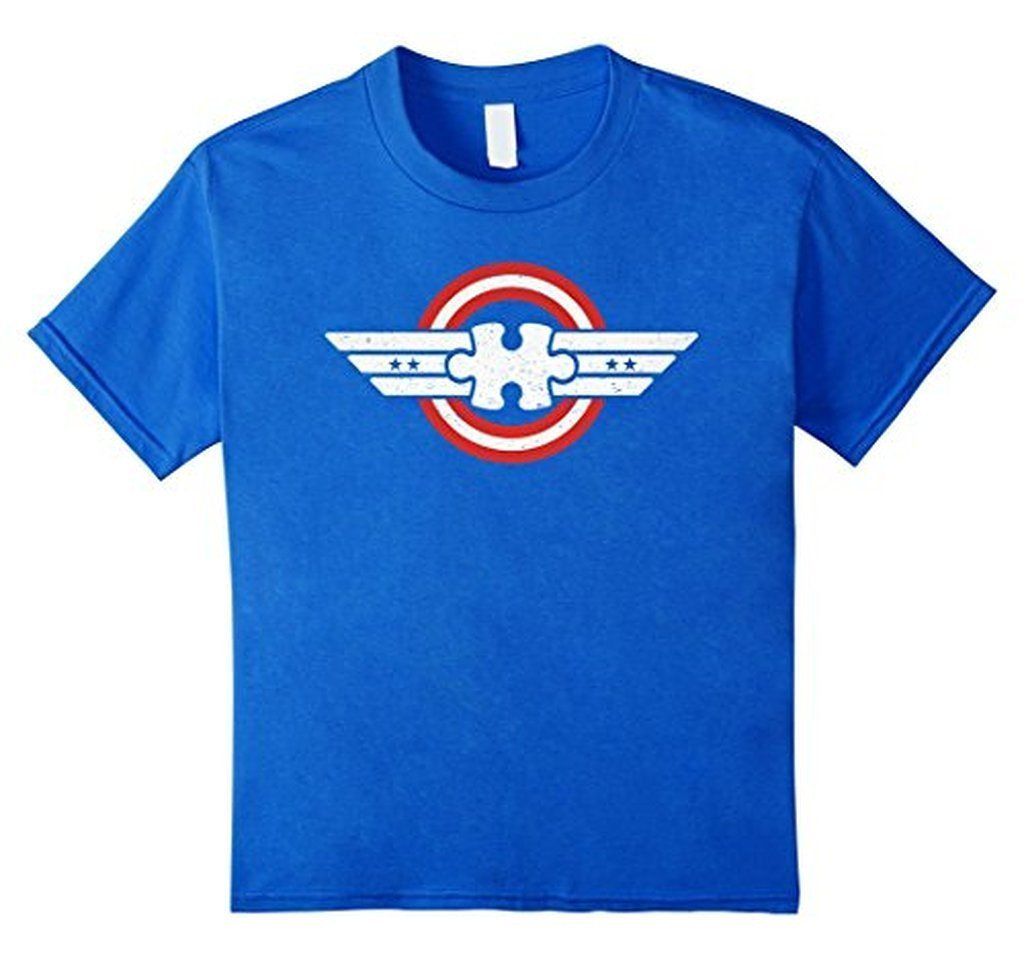 buy Autism Awareness Captain Autism Superhero Gift T-shirt online at BELDISEGNO for just $22.99 | Color Royal Blue | Size S | Fit Type Men