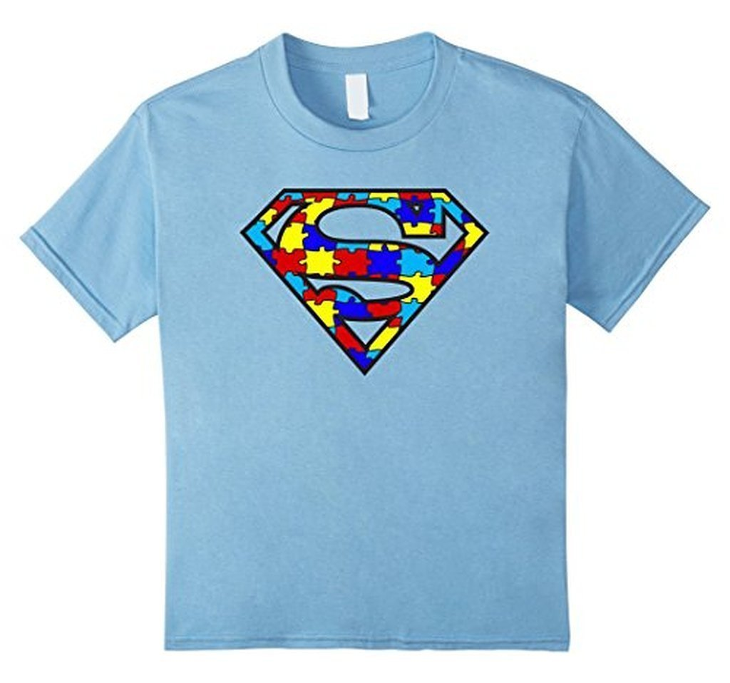 Autism Awareness Superhero Autism T-shirt - Unisex Adult size Color: Baby BlueSize: S