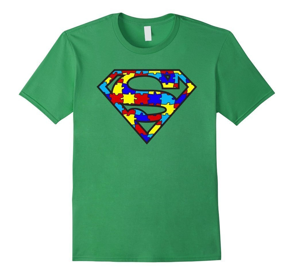 Autism Awareness Superhero Autism T-shirt - Unisex Adult size Color: GrassSize: S