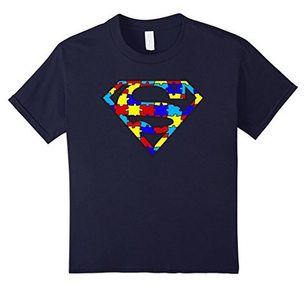Autism Awareness Superhero Autism T-shirt - Unisex Adult size Color: NavySize: S