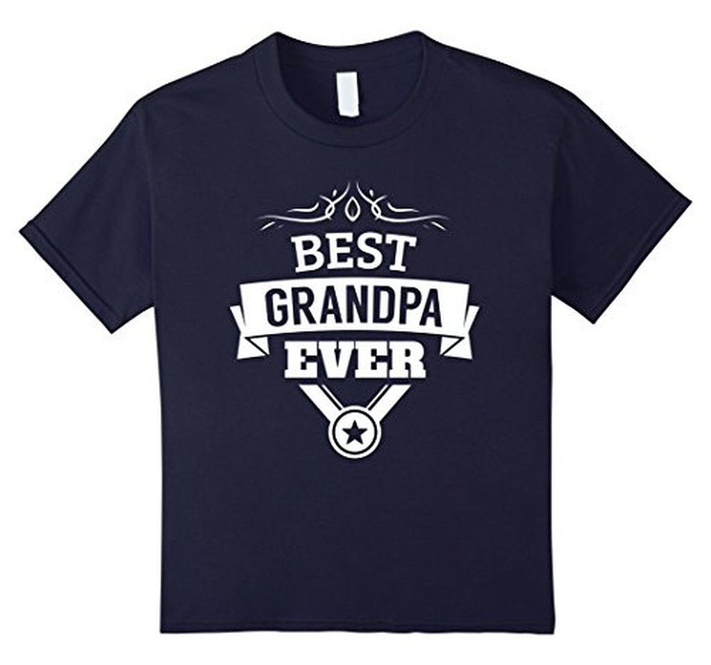 Best Grandpa Ever T-shirt Color: NavySize: S