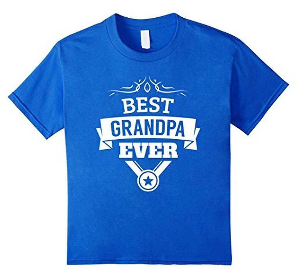 Best Grandpa Ever T-shirt Color: Royal BlueSize: S