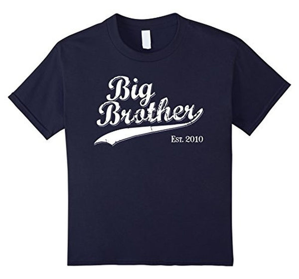 Big Brother Est 2010 Gift for New Brother T-shirt Navy / 3XL T-Shirt BelDisegno