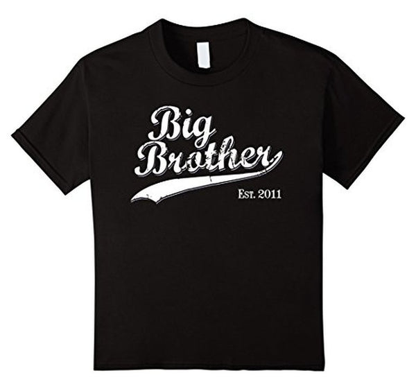 Big Brother Est 2011 Gift for New Brother T-shirt Black / 3XL T-Shirt BelDisegno