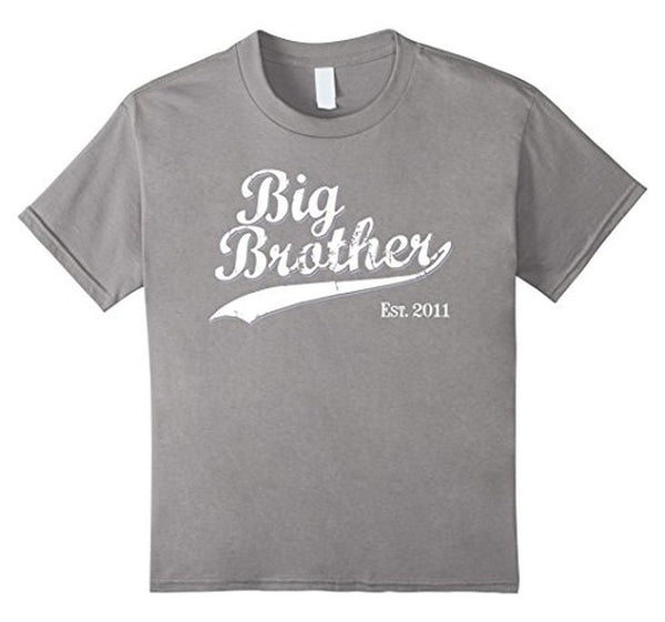 Big Brother Est 2011 Gift for New Brother T-shirt Heather Grey / 3XL T-Shirt BelDisegno