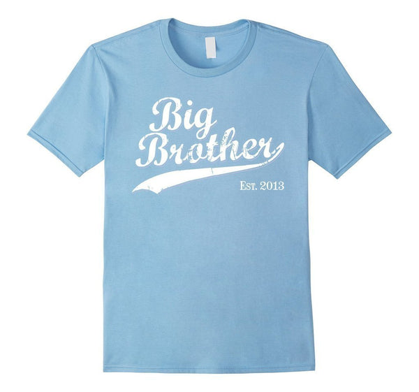 Big Brother Est 2013 Gift for New Brother TShirt-T-Shirt-BelDisegno-Baby Blue-S-BelDisegno