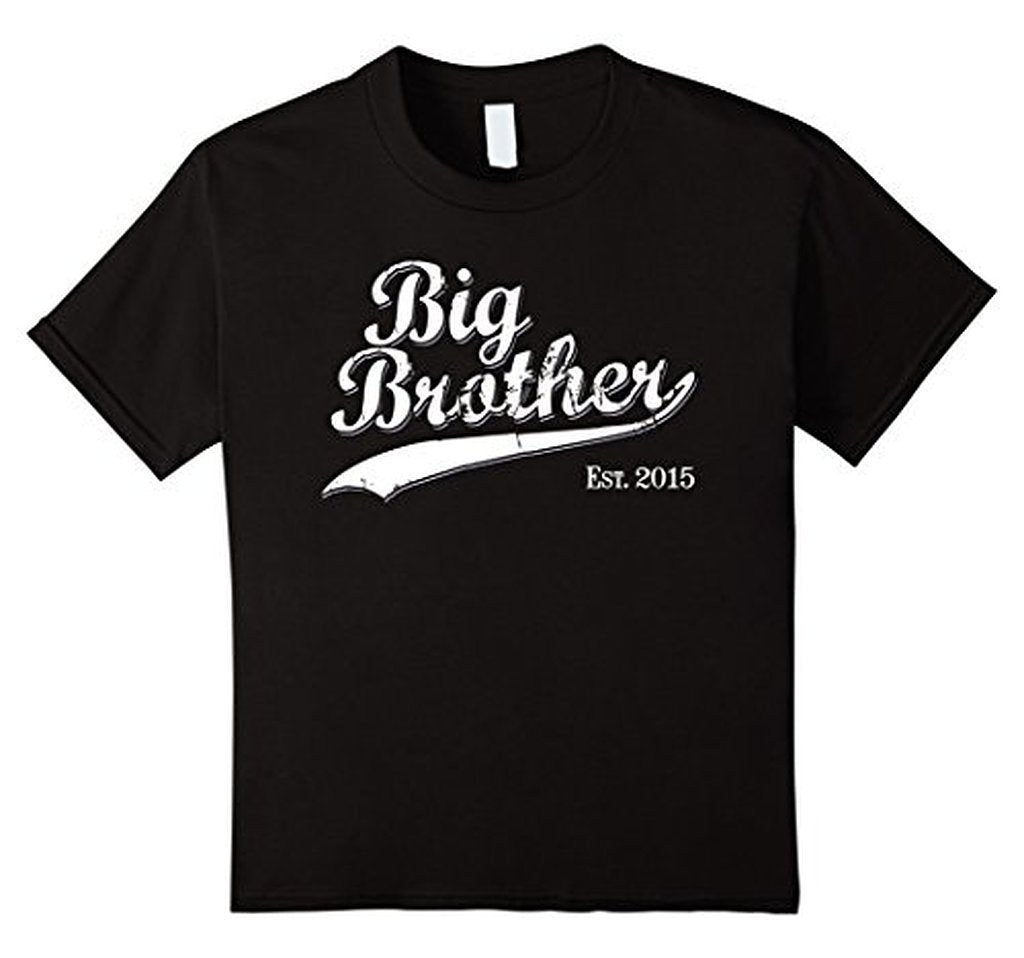 Big Brother Est 2015 Gift for New Brother T-shirt Color: BlackSize: S