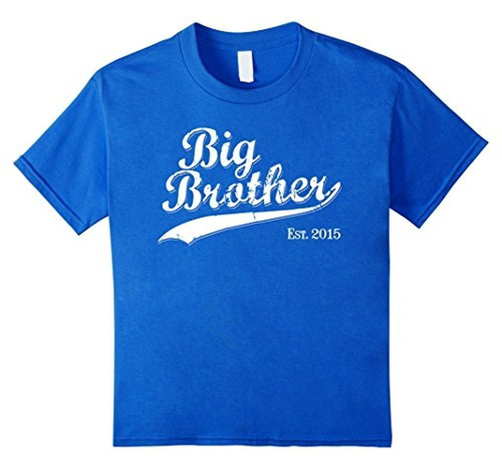 Big Brother Est 2015 Gift for New Brother T-shirt Color: Royal BlueSize: S