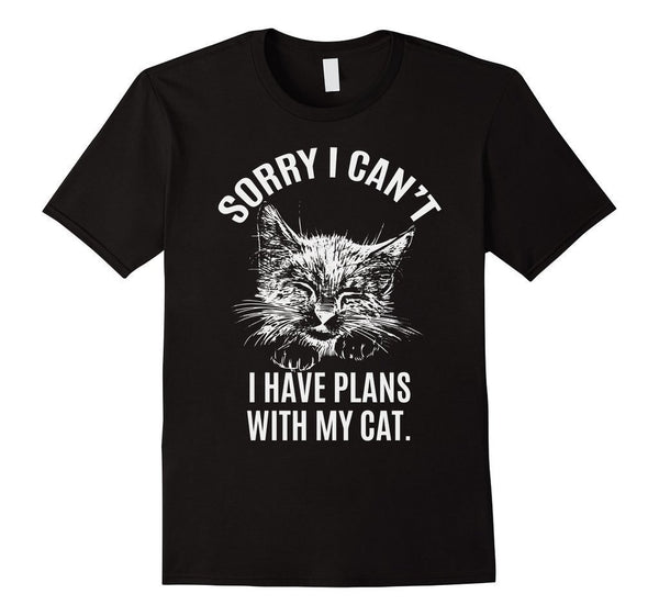 Sorry I Can't I have Plans with my cat T-shirt Black / 3XL T-Shirt BelDisegno