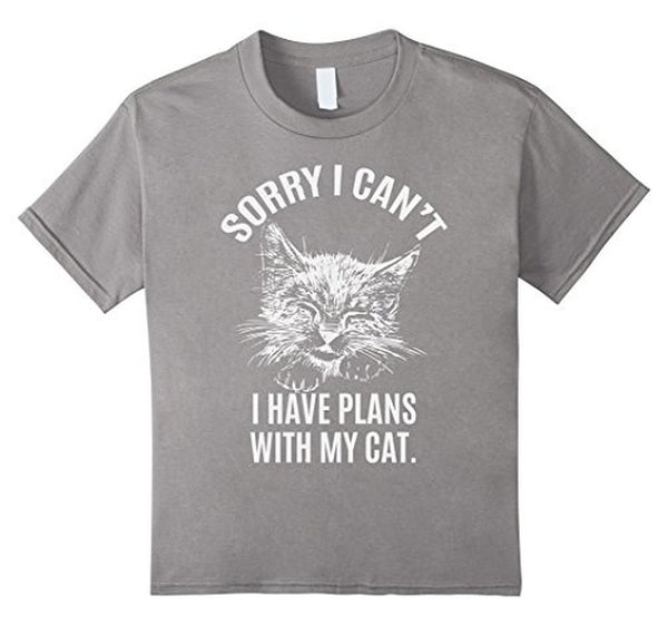 Sorry I Can't I have Plans with my cat T-shirt Heather Grey / 3XL T-Shirt BelDisegno