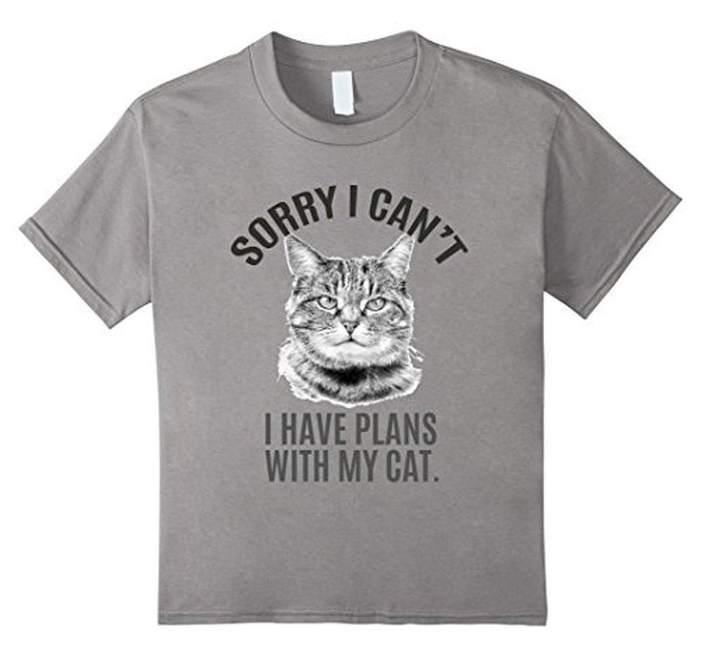 Sorry I Can't I have Plans with my cat T-shirt Slate / XL / Women T-Shirt BelDisegno