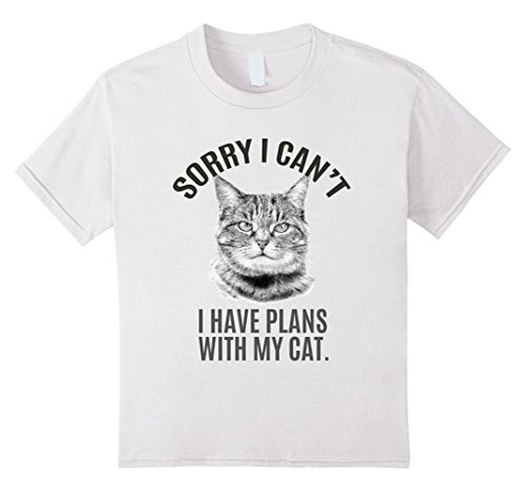 Sorry I Can't I have Plans with my cat T-shirt White / XL / Women T-Shirt BelDisegno