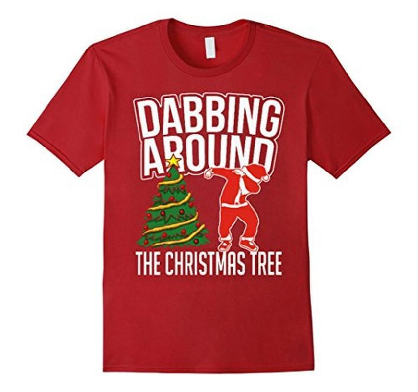 Dabbing Around the Christmas Tree Through the Snow Santa T-shirt Cranberry / 3XL T-Shirt BelDisegno