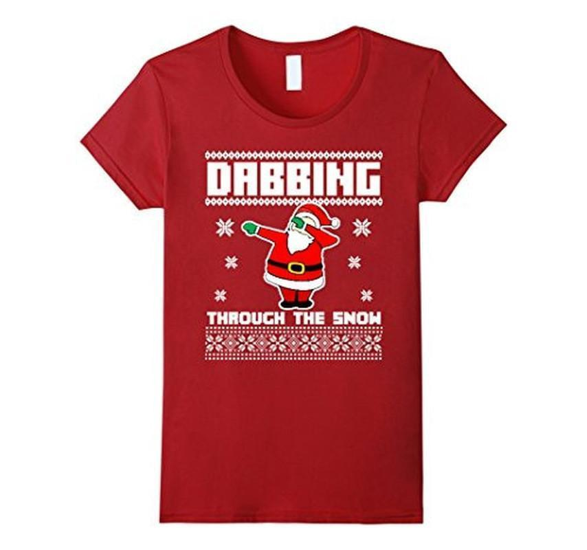 Christmas T-shirt DABBING THROUGH THE SNOW Ugly Color: CranberrySize: S