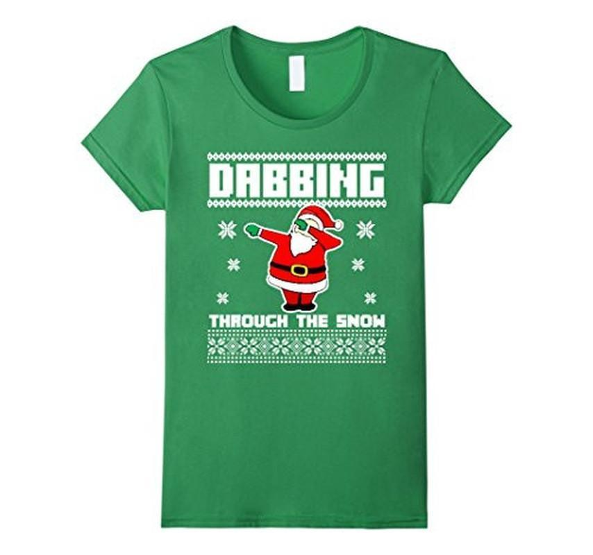 Christmas T-shirt DABBING THROUGH THE SNOW Ugly Color: GrassSize: S