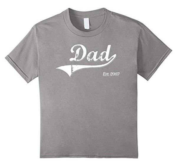 Dad Est. 2007 T Fathers Day Gift for Daddy New Gift TShirt-T-Shirt-BelDisegno-Heather Grey-S-BelDisegno