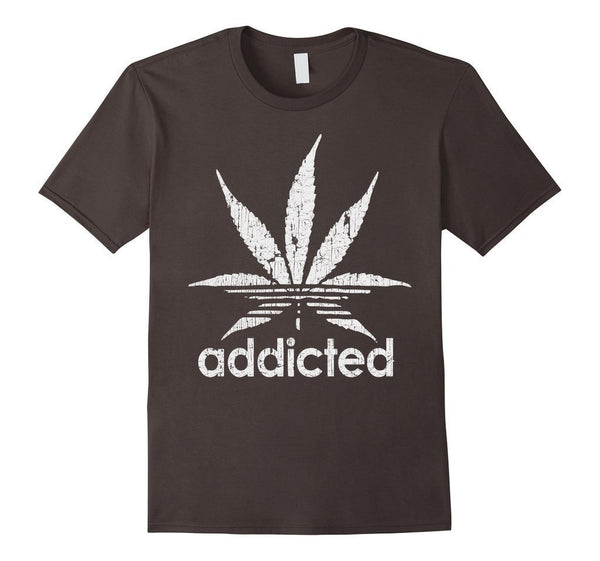 Distressed Addicted White Leaf Weed Day s TShirt-T-Shirt-BelDisegno-Asphalt-S-BelDisegno