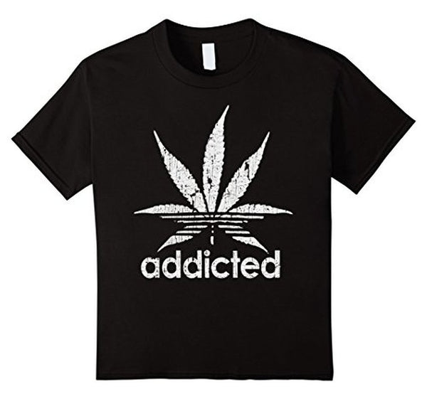 Distressed Addicted White Leaf Weed Day s TShirt-T-Shirt-BelDisegno-Black-S-BelDisegno