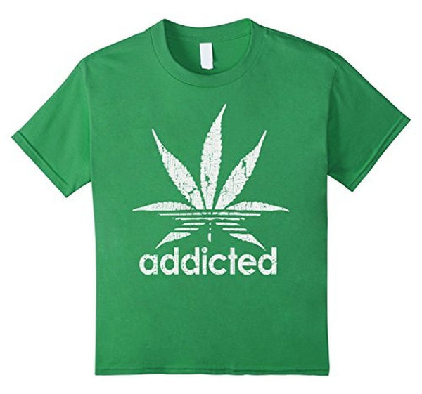 Distressed Addicted White Leaf Weed Day s TShirt-T-Shirt-BelDisegno-Grass-S-BelDisegno