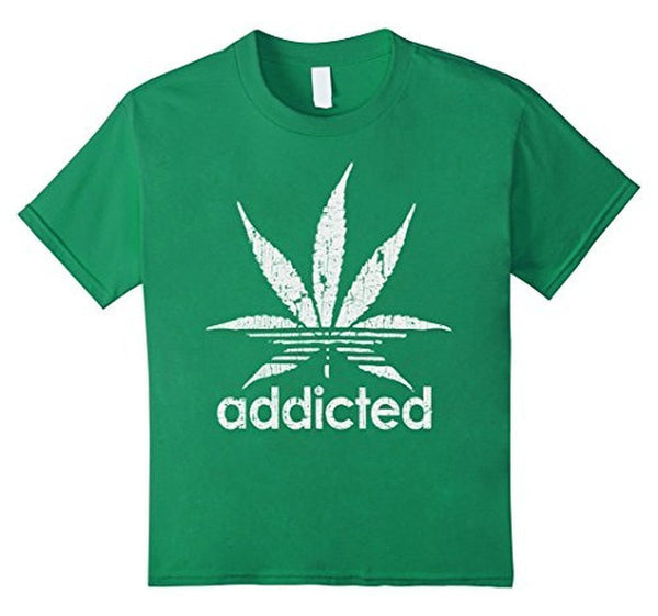 Distressed Addicted White Leaf Weed Day s TShirt-T-Shirt-BelDisegno-Kelly Green-S-BelDisegno