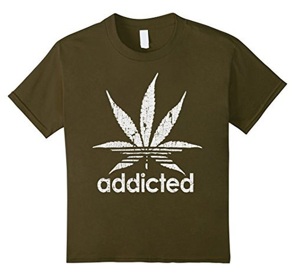 Distressed Addicted White Leaf Weed Day s TShirt-T-Shirt-BelDisegno-Olive-S-BelDisegno