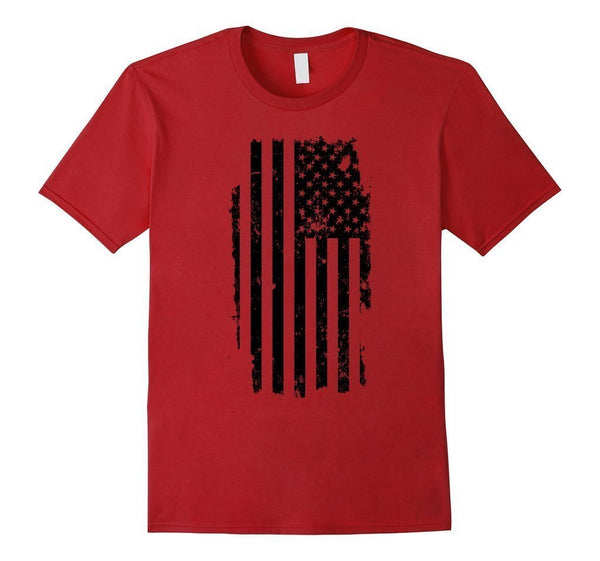 Distressed American Flag Black USA Flag s TShirt-T-Shirt-BelDisegno-Cranberry-S-BelDisegno