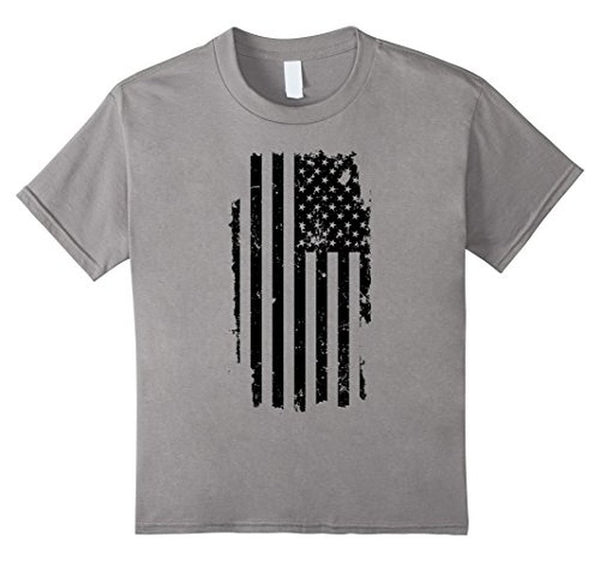 Distressed American Flag Black USA Flag s TShirt-T-Shirt-BelDisegno-Heather Grey-S-BelDisegno