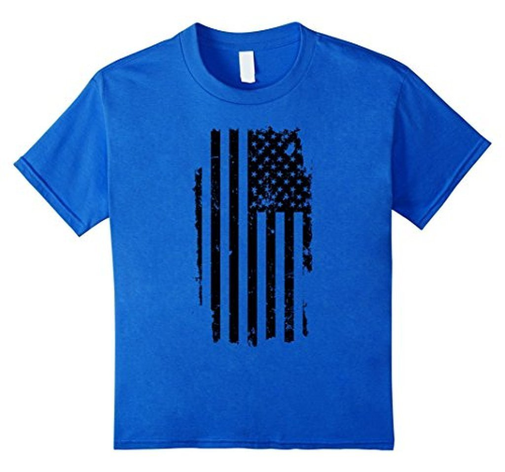 Distressed American Flag Black USA Flag s TShirt-T-Shirt-BelDisegno-Royal Blue-S-BelDisegno
