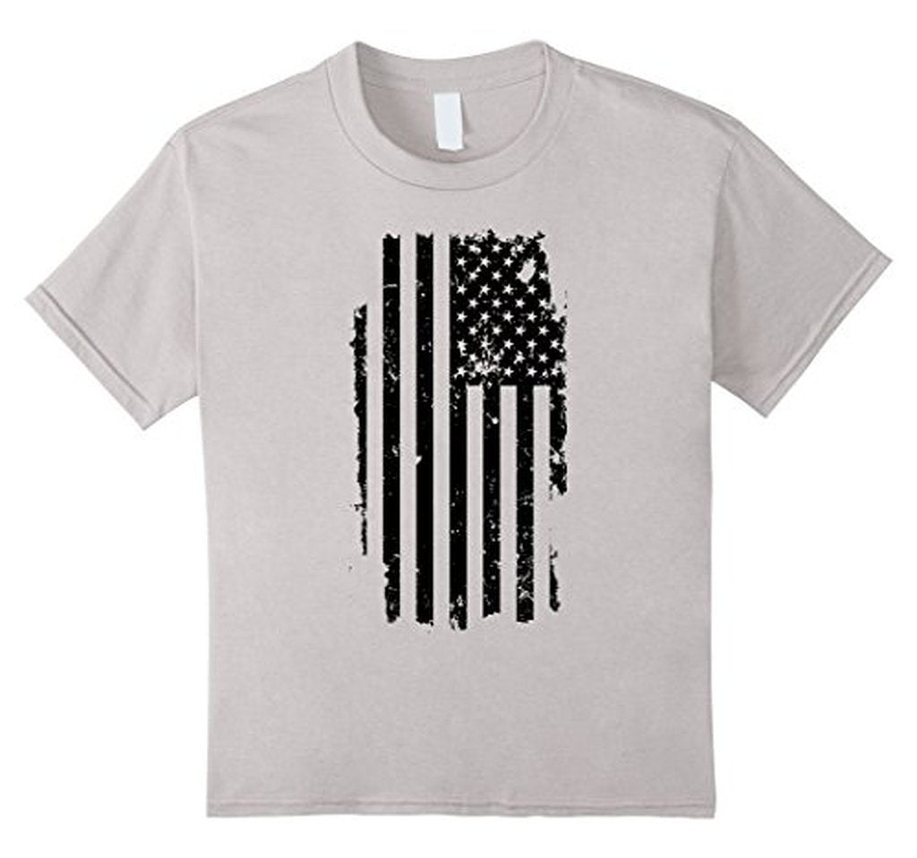 Distressed American Flag Black USA Flag s TShirt-T-Shirt-BelDisegno-White-S-BelDisegno