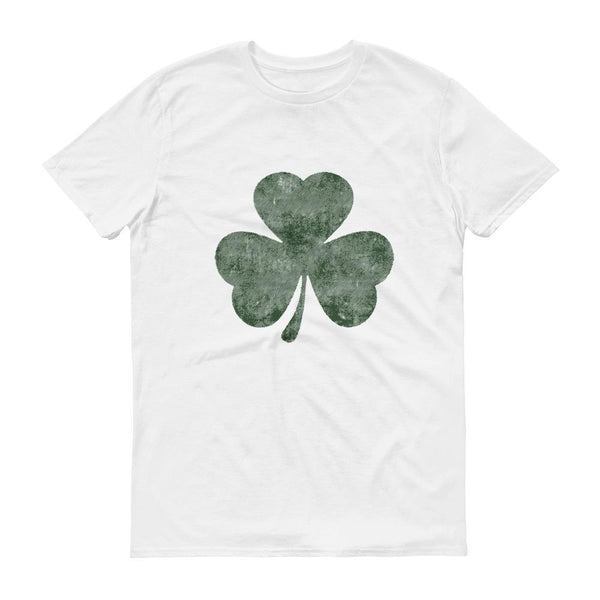 Distressed Green Shamrock 3 leaf clover shirt Men's St Patrick's Day tshirt-T-Shirt-BelDisegno-White-S-BelDisegno