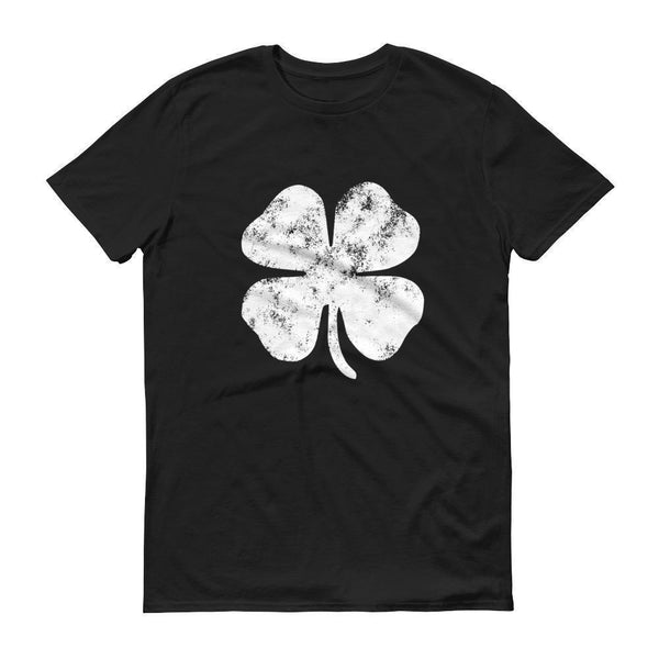 Distressed Shamrock 4 leaf clover shirt Men's St Patrick's Day tshirt-T-Shirt-BelDisegno-Black-S-BelDisegno