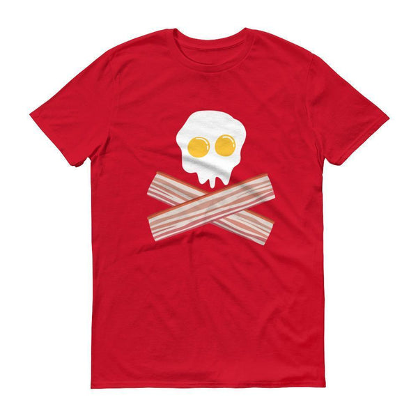 Eggs And Bacon Skull And Cross Bones Black Adult T-shirt Red / 3XL T-Shirt BelDisegno