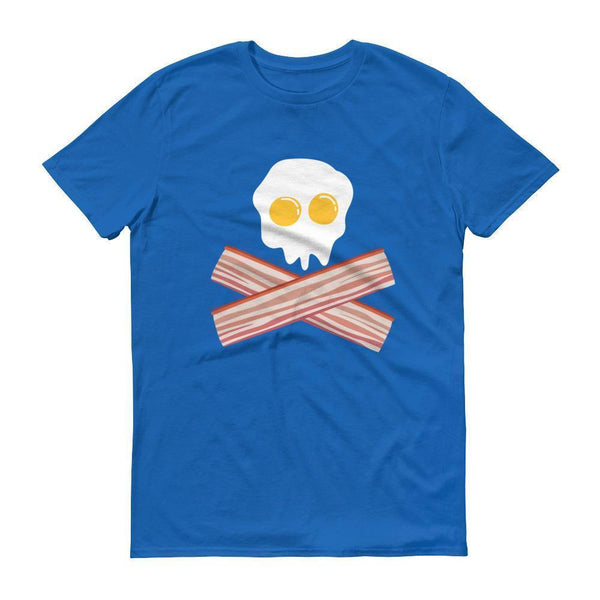 Eggs And Bacon Skull And Cross Bones Black Adult T-shirt Royal Blue / 3XL T-Shirt BelDisegno