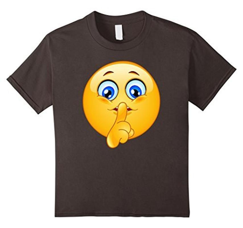 Emoji Emoticon Making Silence Sign T-shirt Asphalt / 3XL T-Shirt BelDisegno