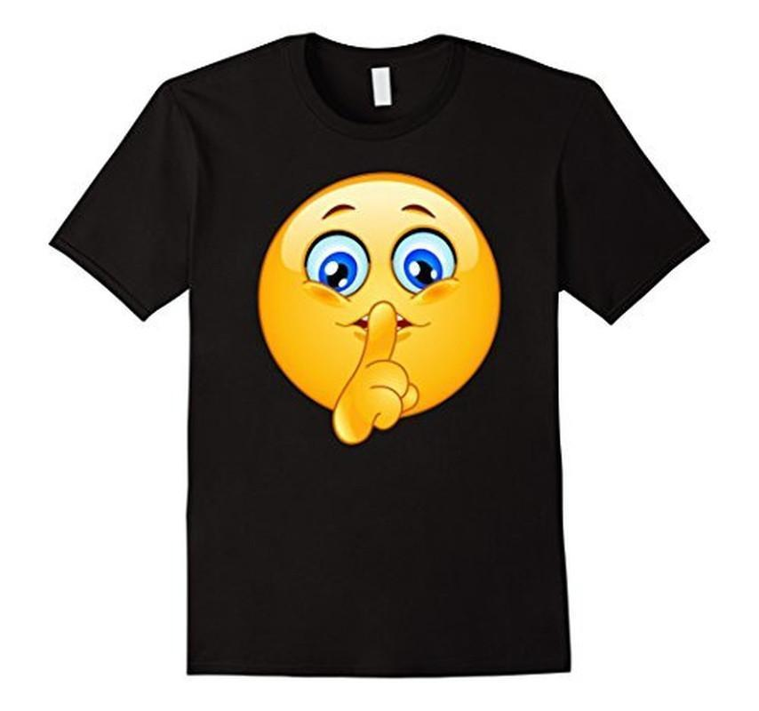 Emoji Emoticon Making Silence Sign T-shirt Black / 3XL T-Shirt BelDisegno