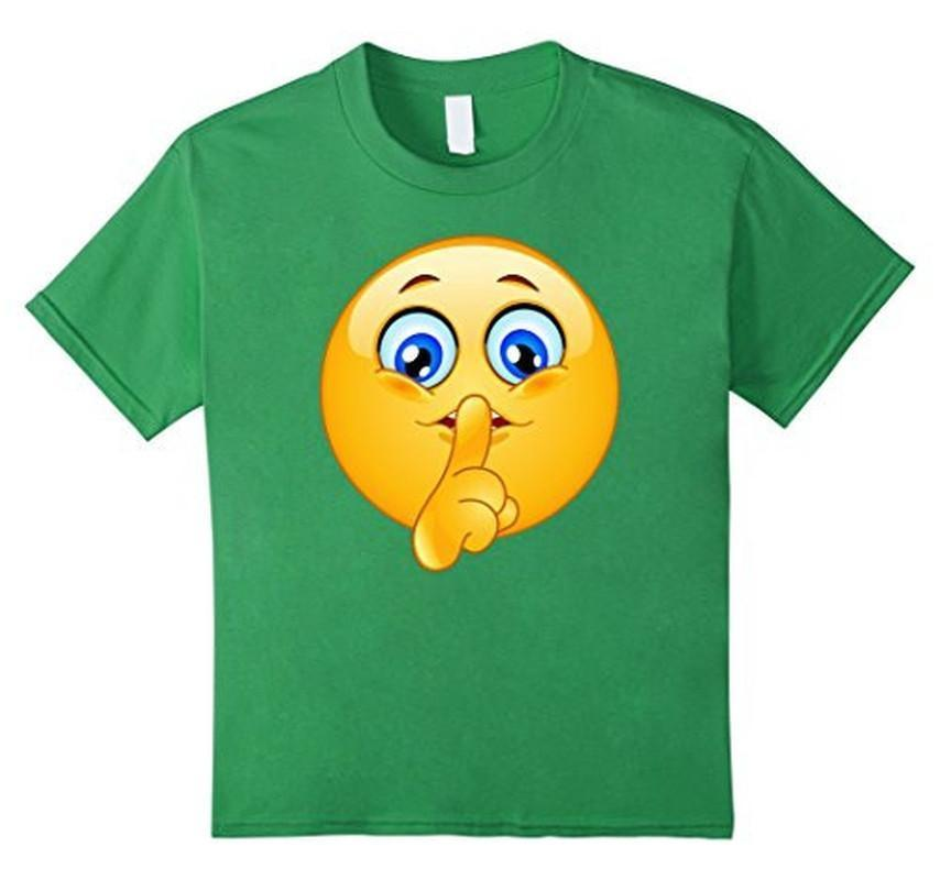 Emoji Emoticon Making Silence Sign T-shirt Grass / 3XL T-Shirt BelDisegno