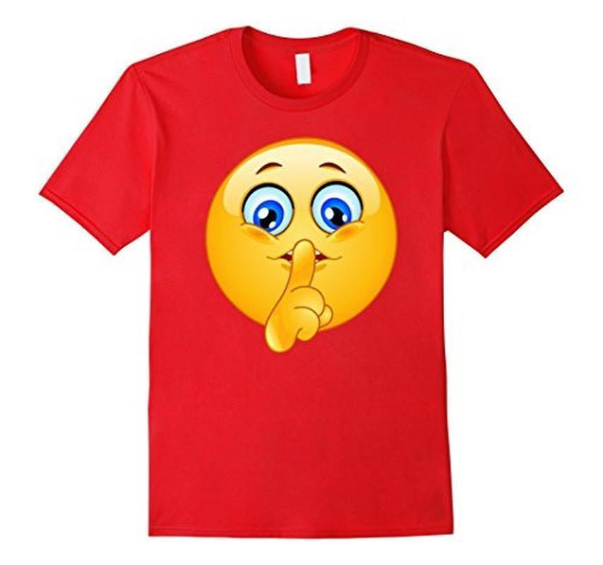Emoji Emoticon Making Silence Sign T-shirt Red / 3XL T-Shirt BelDisegno