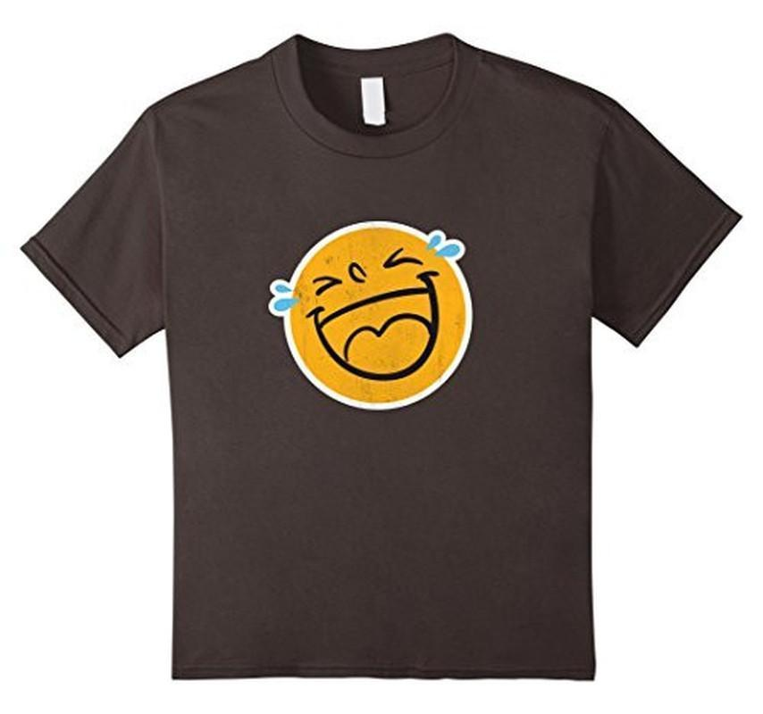 Emoji Laugh Smile Tears NEW Emoticon T-shirt Asphalt / 3XL T-Shirt BelDisegno