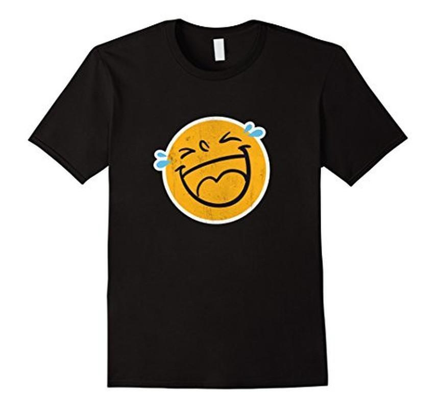 Emoji Laugh Smile Tears NEW Emoticon T-shirt Black / 3XL T-Shirt BelDisegno