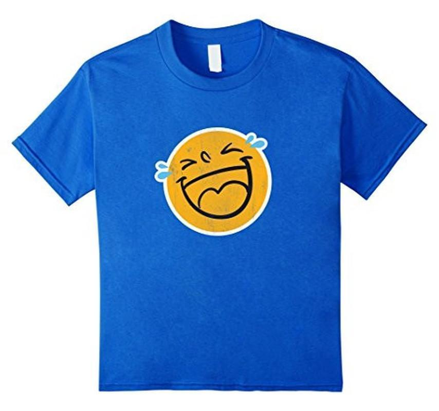 Emoji Laugh Smile Tears NEW Emoticon T-shirt Royal Blue / 3XL T-Shirt BelDisegno