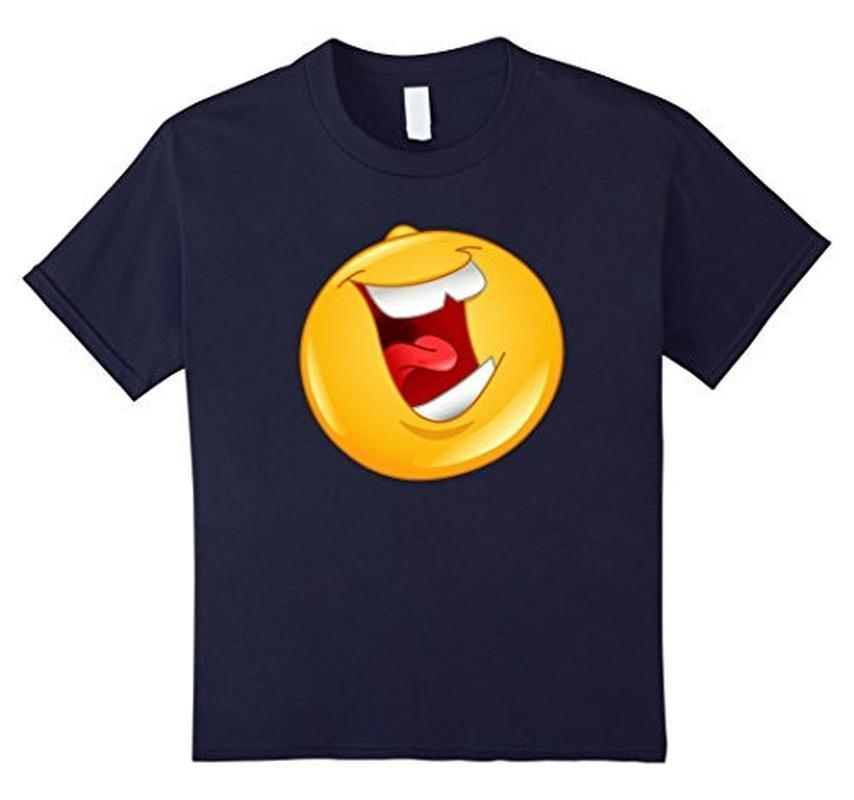 Emoji Laughing out Loud Emoticon T-shirt Navy / 3XL T-Shirt BelDisegno