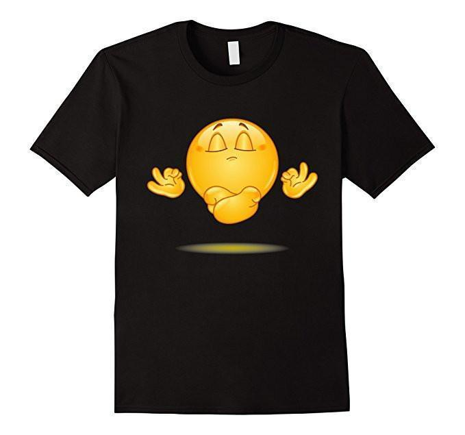 Emoji Meditating emoticon Yoga T-shirt Black / 3XL T-Shirt BelDisegno