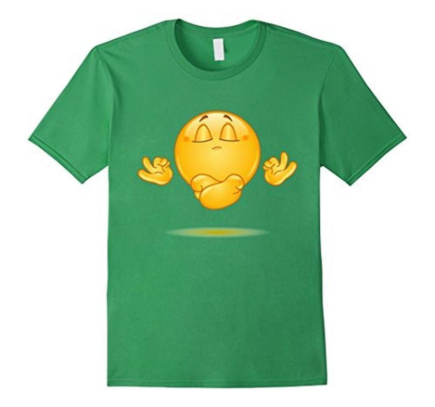 Emoji Meditating emoticon Yoga T-shirt Grass / 3XL T-Shirt BelDisegno