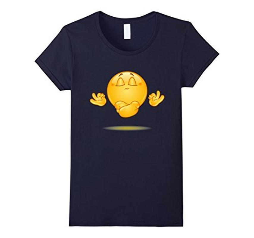 Emoji Meditating emoticon Yoga T-shirt Navy / 3XL T-Shirt BelDisegno