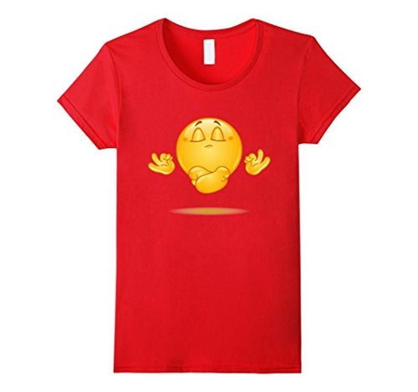 Emoji Meditating emoticon Yoga T-shirt Red / 3XL T-Shirt BelDisegno