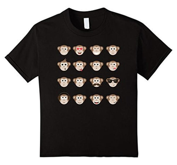 Emoji Monkey Smiley Faces T-shirt Black / XL / Women T-Shirt BelDisegno