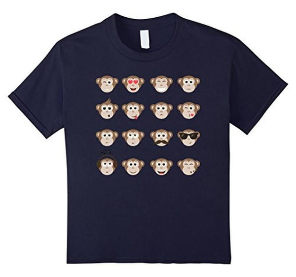 Emoji Monkey Smiley Faces T-shirt Navy / XL / Women T-Shirt BelDisegno